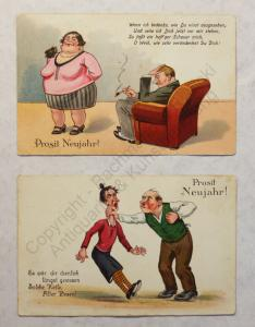 2 Postkarten Prost Neujahr Silvester Grusskarte um 1930 Humor Satire illustriert