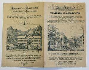 Orig Prospekt Reklame Adelhaidsquelle Heilbrunn Oberbayern um 1880 Mineralwasser