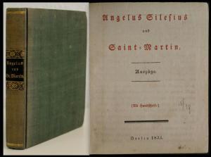 Angelus Silesius Saint-Martin Auszüge EA 1833 Weltliteratur Lyrik rara
