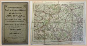 Ravenstein-Liebenows Rad- & Automobilkarte Chalons Frankreich um 1910 Landkarte