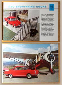 Orig. Werbeprospekt Broschüre NSU Sportprinz Coupe um 1960 Auto Unio Audi xz