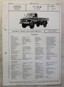 Werbeblatt Broschüre Hanomag AL28 Allrad Lastwagen Transporter Pritsche 1958 xz