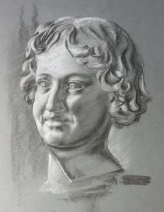 Schmirler Kreidezeichnung Porträt eines Jungen Des Knaben Wunderhorn um 1930 xz