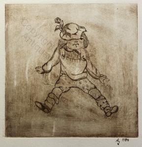 Original Radierung Kleines Kind Puppe Kasper 1984 ca 14,5x14,5 cm Grafik xz