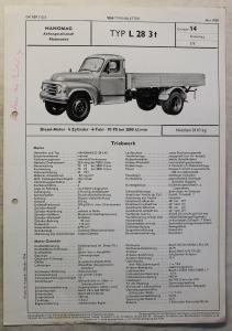 Werbeblatt Broschüre Hanomag L28 3 t Lastwagen Transporter Pritsche Lkw 1958 xz