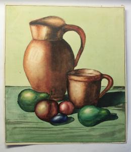 Schmirler Aquarell Stillleben Kanne Obst um 1930 Studienarbeit Kunstschule Loket
