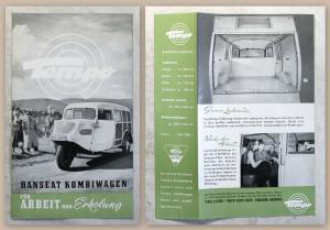 Werbeprospekt Broschüre Tempo Hanseat Kombiwagen Lastwagen Transporter um1950 xz