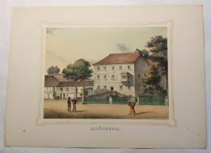 Kolorierte Lithografie Schönberg Poenicke Schlösser Rittergüter um 1855 Sachsen