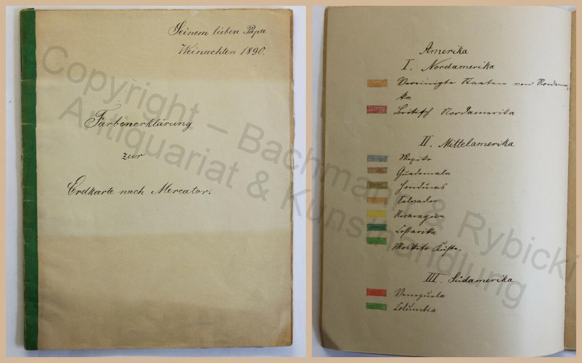 Alte Handschrift Farbenerklärung zur Erdkarte nach Mercator 1890 Kartografie xz 0
