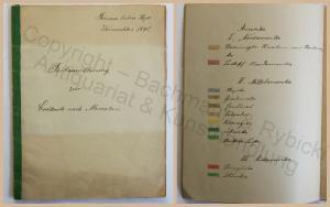 Alte Handschrift Farbenerklärung zur Erdkarte nach Mercator 1890 Kartografie xz