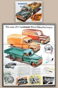 Werbeplakat Prospekt Hanomag 2,5t Diesel Lastwagen Transportfahrzeuge um 1955 xz