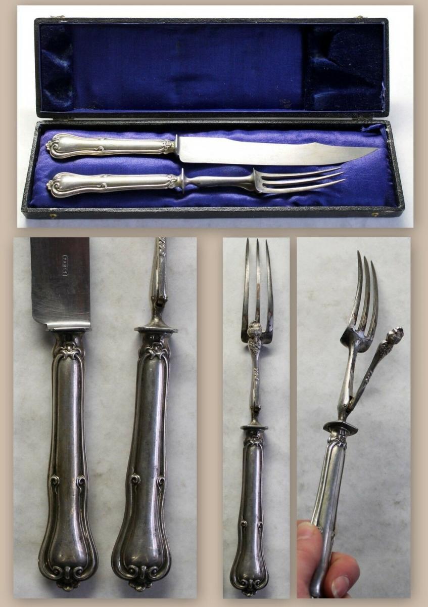 Tranchierbesteck Messer Gabel Spätbiedermeier ca. 1830 versilbert mit Kasten xz 0