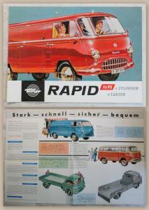 Werbeprospekt Broschüre Plakat Tempo Rapid 32 PS 4 Takter Lastwagen um 1960 xz