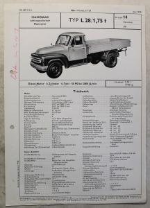 Werbeblatt Broschüre Hanomag L28 1,75 t Lastwagen Transporter Pritsche 1958 xz