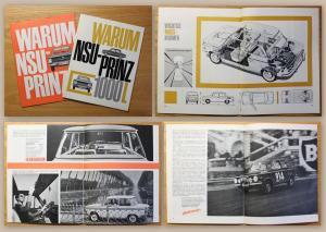 Orig Werbeprospekt NSU Prinz 1000 L & Prinz 4 um 1960 Automobil Oldtimer Audi xz