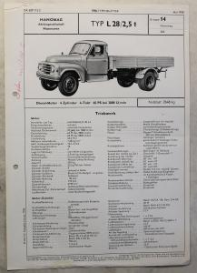 Werbeblatt Broschüre Hanomag L28 2,5 t Lastwagen Transporter Pritsche 1958 xz