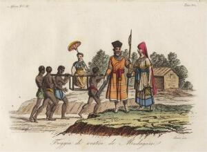 Kupferstich Afrika Madagaskar Ostafrika Kostüm 1825 Sasso handkoloriert Grafik