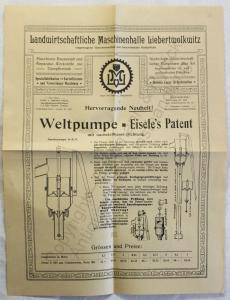 Originial Werbeblatt Landwirt. Maschinenhalle Liebertwolkwitz Pumpen Eisele 1909