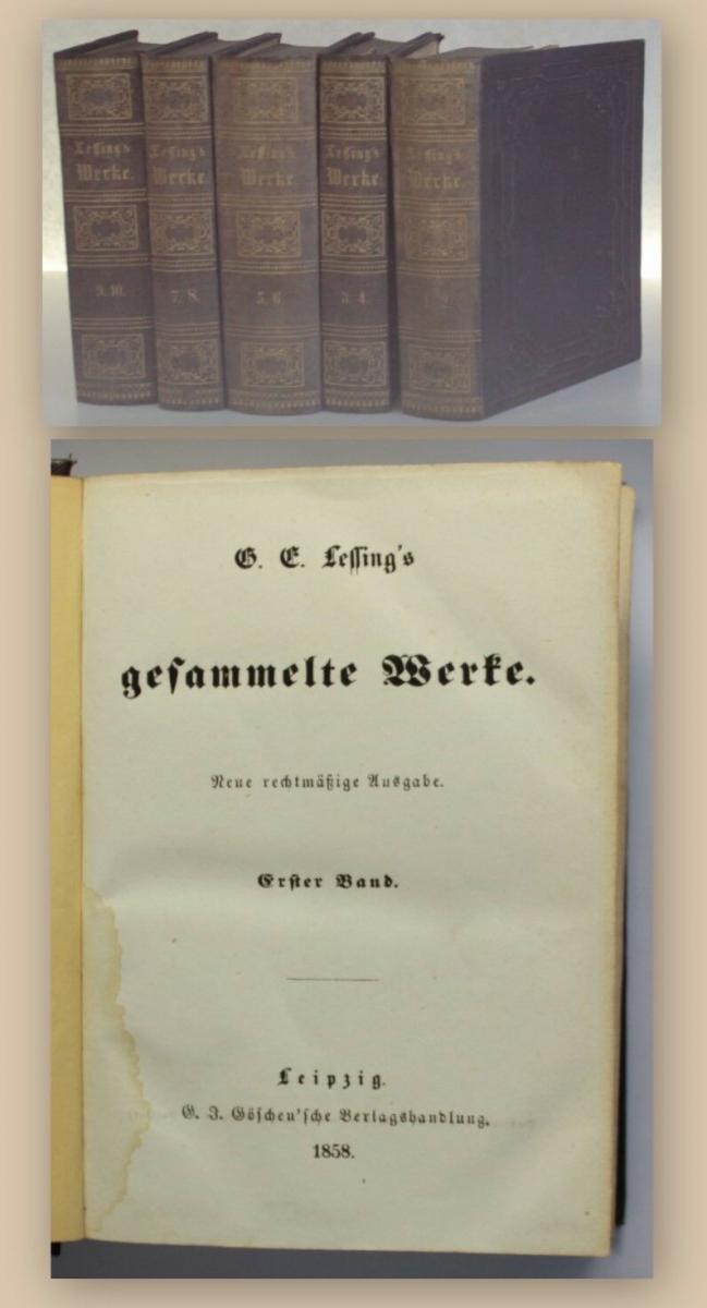 Lessing Gesammelte Werke Bd 1 10 In 5 1858 Gedichte Fabeln Erzählungen Xy