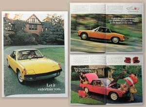 Original Werbeprospekt Broschüre Porsche 914 um 1970 Automobil Oldtimer USA xz