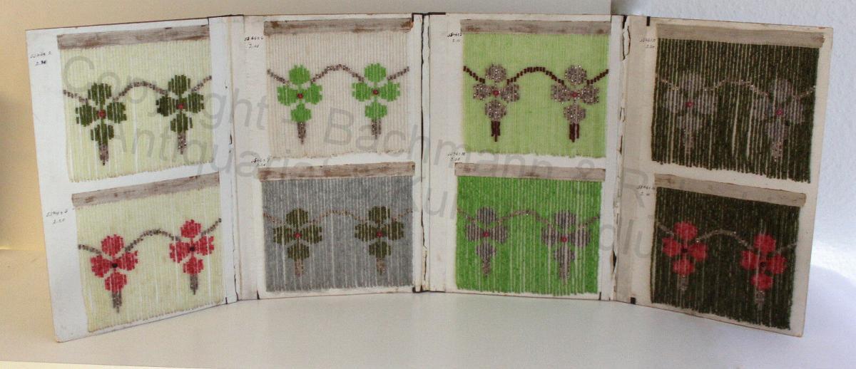 Mustermappe für Glasperlenvorhänge 8 Mustervorlagen Blumenmuster um 1900 rara xz 0
