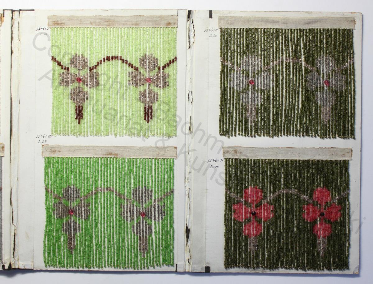 Mustermappe für Glasperlenvorhänge 8 Mustervorlagen Blumenmuster um 1900 rara xz 1