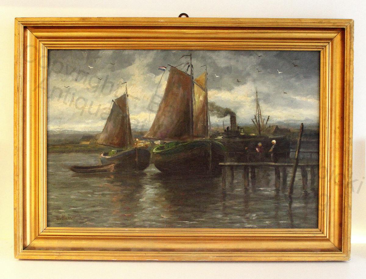 Impressionist Orig Ölgemälde Ulrich Hübner 1872-1932 maritim Segelschiffe Hafen 0