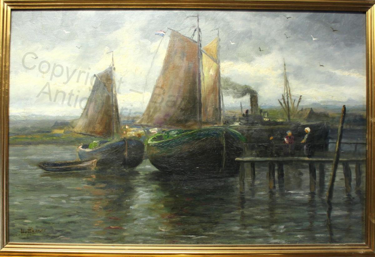Impressionist Orig Ölgemälde Ulrich Hübner 1872-1932 maritim Segelschiffe Hafen 1