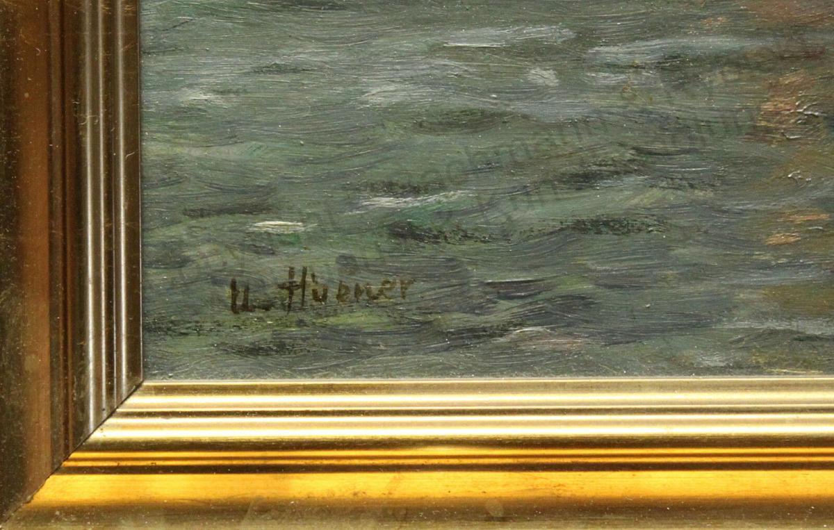 Impressionist Orig Ölgemälde Ulrich Hübner 1872-1932 maritim Segelschiffe Hafen 2