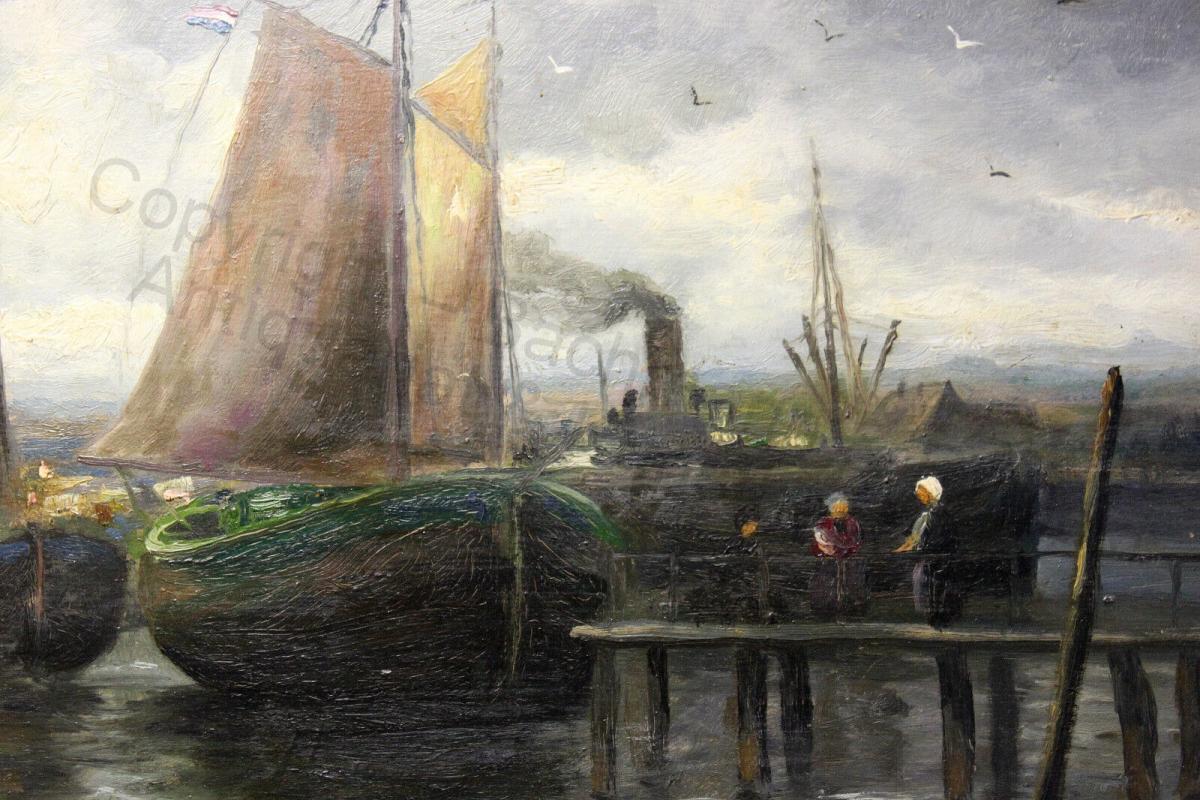 Impressionist Orig Ölgemälde Ulrich Hübner 1872-1932 maritim Segelschiffe Hafen 3