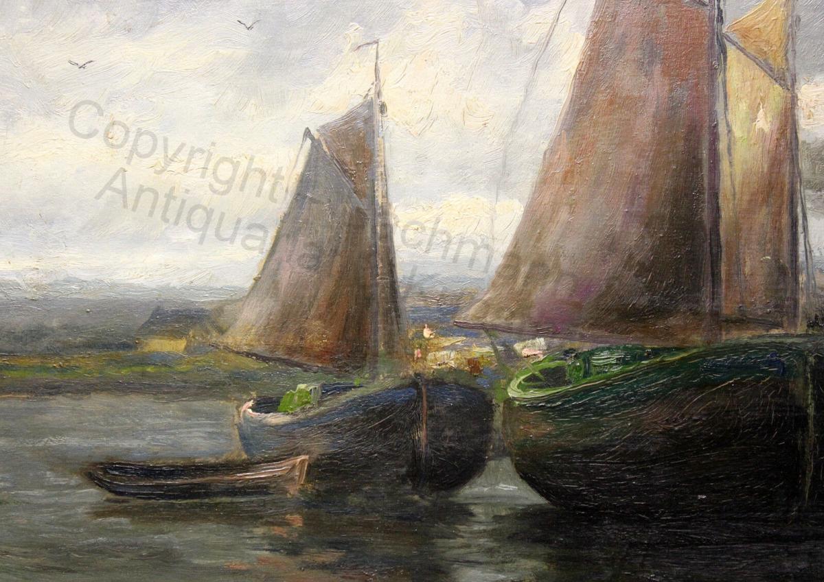 Impressionist Orig Ölgemälde Ulrich Hübner 1872-1932 maritim Segelschiffe Hafen 4