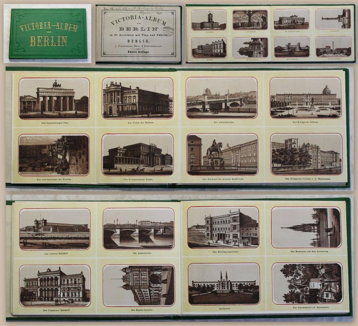 Victoria-Album von Berlin 48 Ansichten Hauptstadt Leporello um 1875 mit Karte xz 0