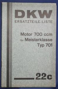 Original Prospekt DKW Ersatzteile-Liste Motor 700 ccm Typ 701 1934 Motorrad sf