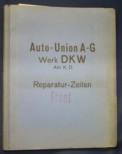 Original Mappe Auto Union AG Werk DKW Reparatur- Zeiten Front um 1935 sf
