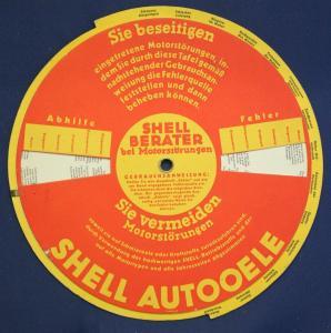 Original Drehschreibe aus Pappe Shell Berater bei Motorstörungen um 1930 sf