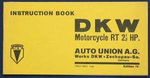 Original Prospekt Instruction Book DKW Motorcycle RT 2 1/2 HP um 1935 sf