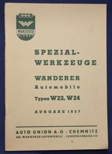Original Prospekt Spezial - Werkzeuge Wanderer Automobile Typen W 23,24 1937 sf