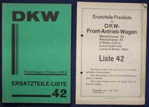 Original Prospekt für DKW Ersatzteile - Liste 42 Frontwagen Typen 1935 sf