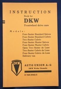 Original Prospekt Instruction Book for DKW Frontwheel drive cars 1936 sf