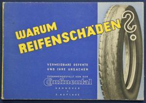 Original Broschüre von Continental Warum Reifenschäden 1935 Automobil Technik sf