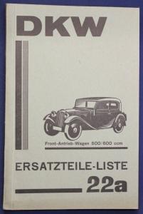 Original Prospekt Ersatzteile-Liste Front-Antrieb-Wagen 500/600 ccm 1935 sf