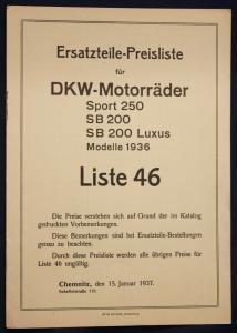 Original Prospekt Ersatzteile-Preisliste für DKW-Motorräder Liste 46 1937 sf
