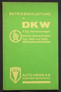 Original Prospekt Betriebsanleitung DKW 4 Zyl.-Personenwagen 1001 & 1002 1935 sf