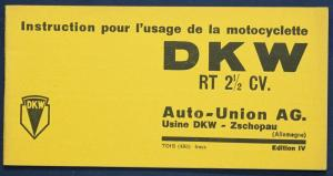 Original Prospekt Instruction pour motocyclette DKW RT 2 1/2 CV um 1935 sf
