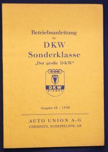 Original Prospekt Betriebsanleitung für DKW Sonderklasse Ausgabe 4E 1938 sf