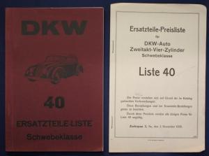 Original Prospekt für DKW Ersatzteile - Liste 40 Schwebeklasse 1935 Motorrad sf