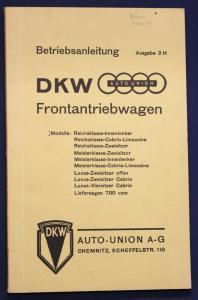 Original Prospekt Betriebsanleitung DKW Frontantriebswagen Ausgabe 2 H 1937 sf
