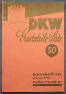 Original Prospekt für DKW Ersatzteile - Liste 50 Schwebeklasse 50001 1935 sf
