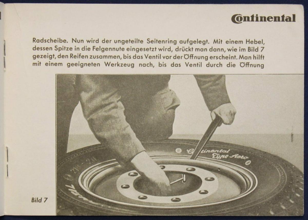 Original Broschüre von Continental Reifen Montage um 1935 Automobil Technik sf 1