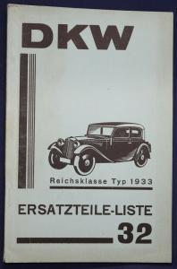 Original Prospekt für DKW Ersatzteile - Liste 32 Reichsklasse Typ 1933 sf